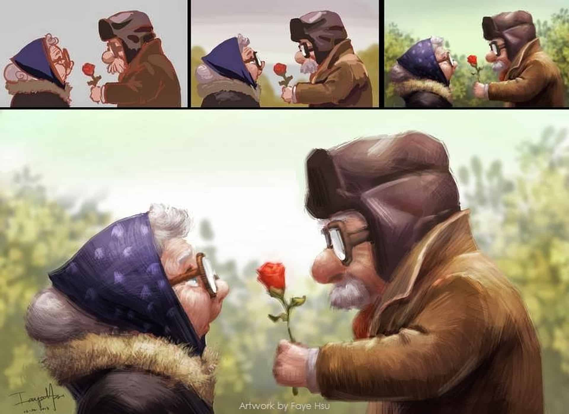 Old Couple with Rose by Faye Hsu