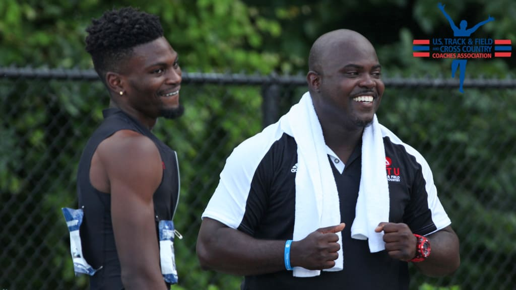 ART U Track and Field athlete Mobolade Ajomale with Coach Kevin LaSure