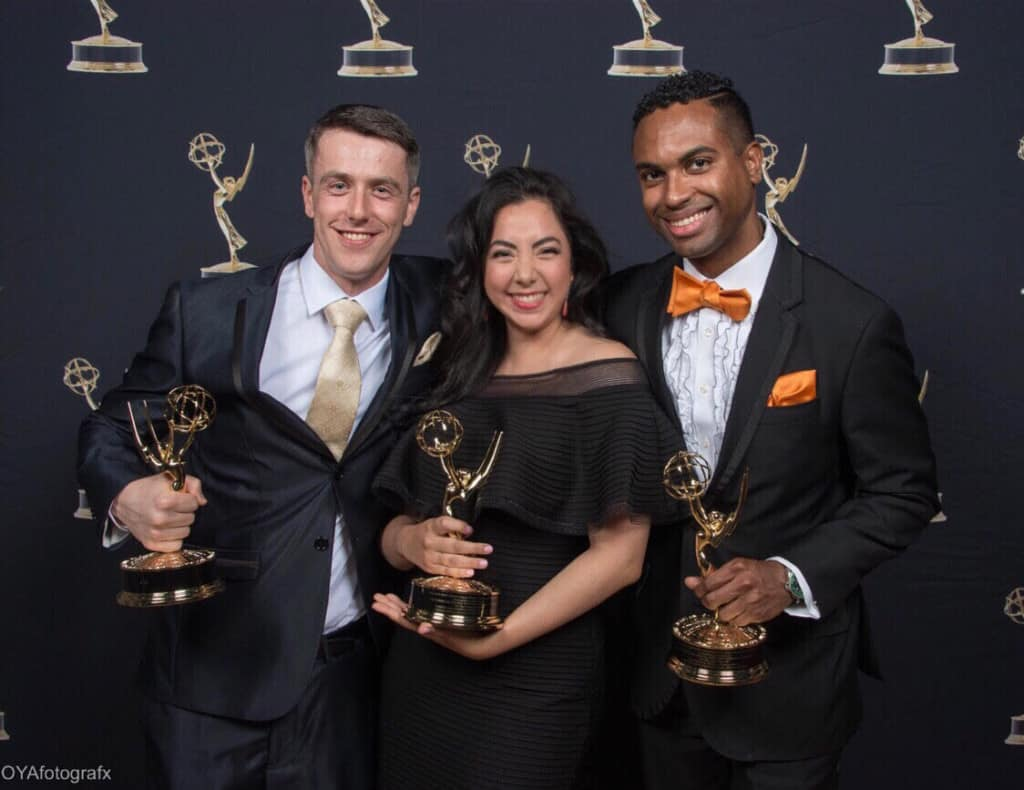 Norma Lopez and team with Emmys