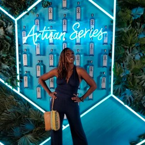 Fabunmi strikes a pose at the Artisan Series finale in Miami.